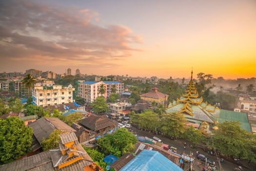 Downtown Yangon skyline in Myanmar