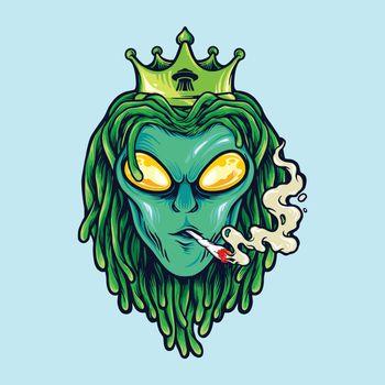 Alien Dreadlock king, weed Smoke illustrations logo mascot merchandise