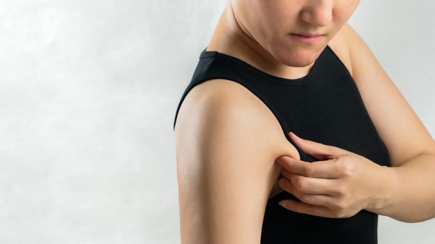 fat woman pulling her armpit or underarm fat skin, woman diet li