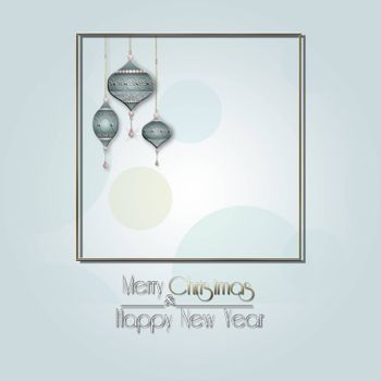 Elegant Christmas background with hanging blue luxury balls with gold ornament on pastel green background with gold frame. Text Merry Christmas Happy New year. Copy space, mock up. 3D illustration