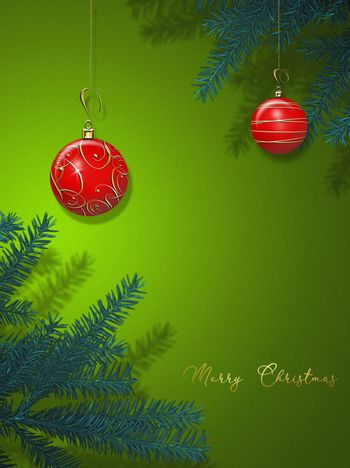 Traditional Christmas New Year card with red balls baubles on green background with Christmas tree branches. 3D illustration. Goldt text Merry Christmas