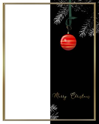 Christmas New Year card with hanging red ball bauble with gold decoration on black and white background of Christmas tree branches. 3D illustration. Place for text, mock up