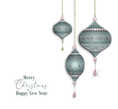 Luxury elegant Christmas 2021 New Year greeting with pastel green baubles balls with jewelry pink pearl decoration on white background. Text Merry Christmas Happy New Year. Copy space. 3D illustration