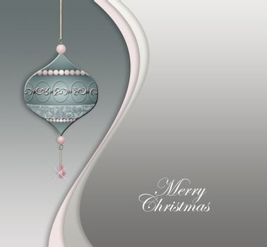 Luxury hanging Christmas bauble decorated with jewelry pink pearls on pastel green grey background. White text Merry Christmas. Place for text. 3D illustration