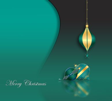 Elegant Christmas 2021 New Year background with hanging turquoise green baubles with gold ornament on green background. Text Merry Christmas. Copy space, mock up. 3D illustration