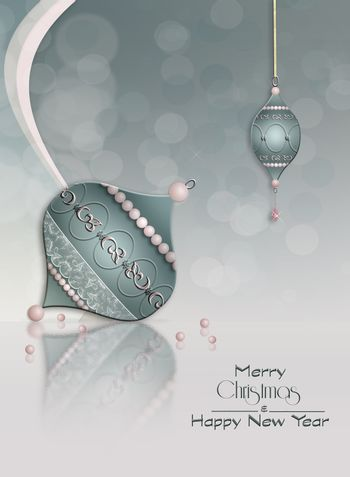 Elegant background with beautifully decorated Christmas balls baubles with reflection. Text Merry Christmas Happy New Year. 3D illustration