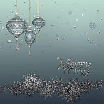 Christmas and Happy New Year Background with silver border of snowflakes, luxury blue baubles balls on pastel green metallic background. Text Merry Christmas. 3D illustration