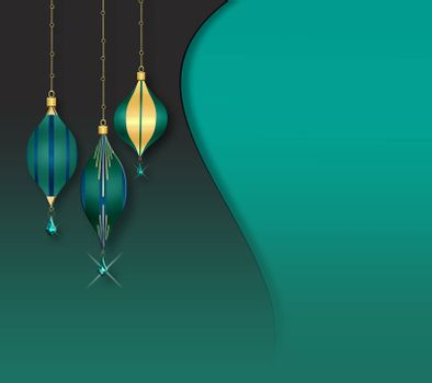 Elegant vintage green blue Christmas baubles with gold decor on green background. Copy space, mock up. 3D illustration