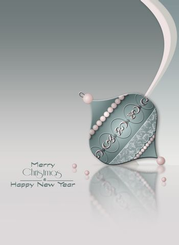 Luxury Christmas New Year background with bauble decorated with jewelry pink pearls on reflection on pastel grey background. Text Merry Christmas Happy New Year. Copy space, mock up. 3D illustration