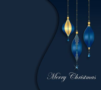 Elegant luxury greeting background for Christmas or 2021 New Year Event. Blue baubles with gold shiny decor on dark blue background. White text Merry Christmas. Mock up. Copy space. 3D illustration