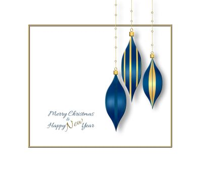 Luxury blue gold Christmas baubles hanging against the white background. Text Merry Christmas Happy New Year. Copy space. Place for text, mock up. 3D illustration