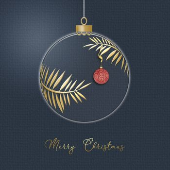 Hanging Christmas ball made of gold leaves with red lantern with gold ornament on blue background. Minimalist greeting 2021 New Year card. Merry Christmas text. 3D illustration