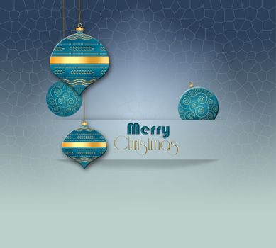 Elegant Christmas 2021 New year background with hanging turquoise blue balls with gold ornament in paper stripe on pastel blue background. Copy space, 3D illustration