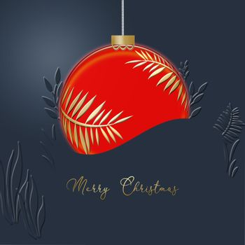 Hanging red Christmas ball made of gold leaves on blue background. Minimalist greeting 2021 New Year card. Gold text Merry Christmas. 3D illustration