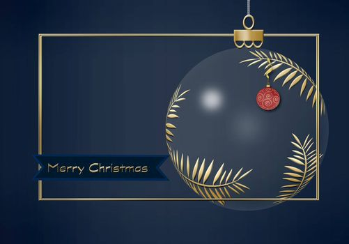 Hanging Christmas ball made of gold leaves with red lantern with gold ornament on dark blue background. Minimalist greeting 2021 New Year card. Text Merry Christmas. 3D illustration