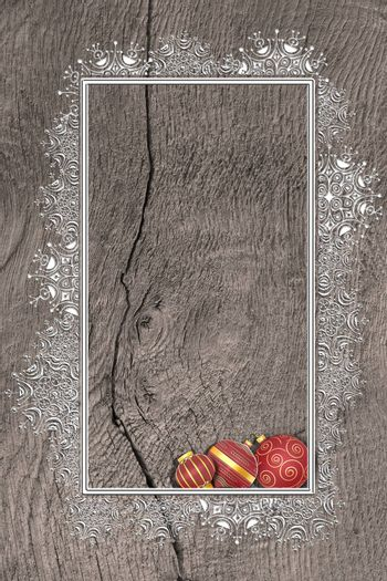 Christmas 2021 New Year grunge wooden background with silver border of snowflakes and red Christmas balls with gold ornament. Mock up, place for text, menu. Vertical. Flat lay. 3D illustration