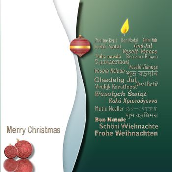 Words Merry Christmas in Different European, Eastern European, Hindi, Bengali, Indian, Japanese Languages forming candle, red balls on white green background. Place for text, mockup.3D illustration