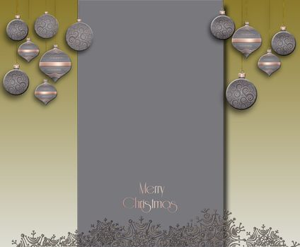 Elegant minimalist Christmas 2021 New Year background. Hanging pastel grey decorative bauble with gold decor on brown green background. Text Merry Christmas. Place for text. 3D illustration
