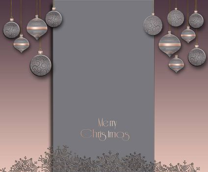 Elegant trendy Christmas background with grey pink balls with gold ornament on pastel grey background. Text Merry Christmas. Copy space, mock up, place for text. 3D illustration