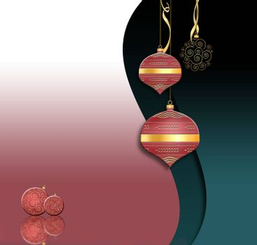 Luxury Christmas and 2021 New Year balls lanterns background in Chinese style. Hanging red baubles with gold decor on black green background. Place for text. 3D illustration