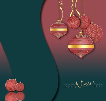 Luxury Christmas and 2021 New Year balls background in Chinese style. Hanging red baubles with gold decor on black green background. Text Happy New year. 3D illustration