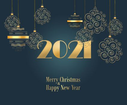 Dramatic Christmas background with hanging gold balls and gold digit 2021 on black background. Text Merry Christmas Happy New Year. Copy space. 3D illustration