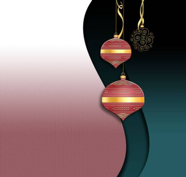 Christmas 2021 New Year background with shining chinese style red gold balls, serpantine on red pink green background. Place for text. 3D Illustration.