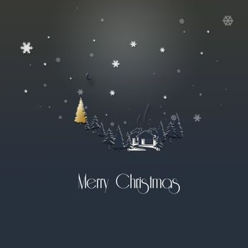 Beautiful stylish minimalist Christmas 2021 New Year winter night landscape with snowflakes, houses, firs, gold Christmas tree on dark blue background. Merry Christmas text. 3D Illustration