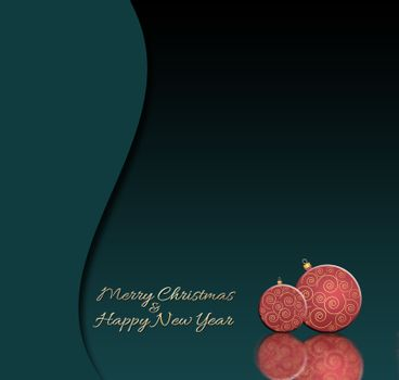 Dramatic luxury Christmas and 2021 New Year balls background with reflection. Red baubles with gold decor on black green background. Gold text Merry Christmas Happy New year. 3D illustration