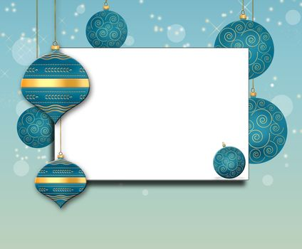 Mock up elegant Christmas background with turquoise blue balls with gold ornament on pastel blue background. Text Merry Christmas. Copy space, place for text. 3D illustration