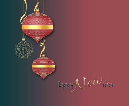 Elegant luxury minimalist Christmas 2021 New Year background. Hanging red baubles, balls with gold decor and cofetti on red black background. Text Happy New Year. Copy space. Mock up. 3D illustration
