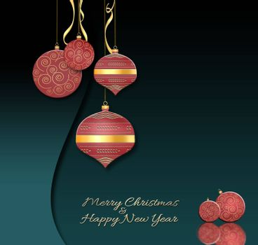 Luxury Christmas and 2021 New Year balls lanterns background in Chinese style. Hanging red baubles with gold decor on black green background. Text Merry Christmas. Happy New year. 3D illustration