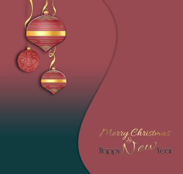 Christmas and 2021 New Year balls background. Hanging red decorative bauble with gold decor on red black background. Text Merry Christmas Happy New year. 3D illustration