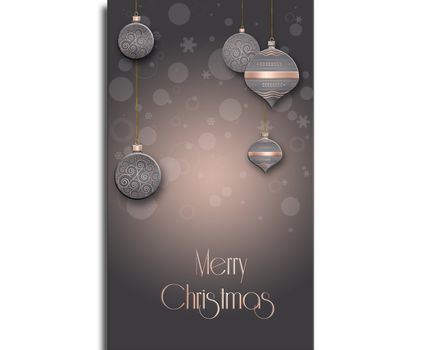 Elegant Christmas background with hanging balls with pink gold ornament on pastel brown background. Copy space. 3D illustration
