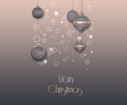Christmas Background with balls in pink brown colour with text Merry Christmas. 3D illustration