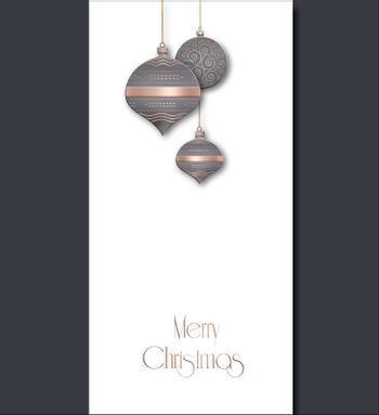 Elegant Christmas background with grey pink balls with gold ornament on white background. Text Merry Christmas. Copy space, mock up, place for text. 3D illustration