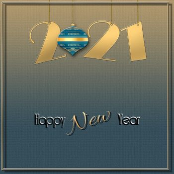 Minimalist Happy New 2021 Year design with hanging gold 2021 digit, green ball on shiny gold green background. Text Happy New Year. 3D illustration