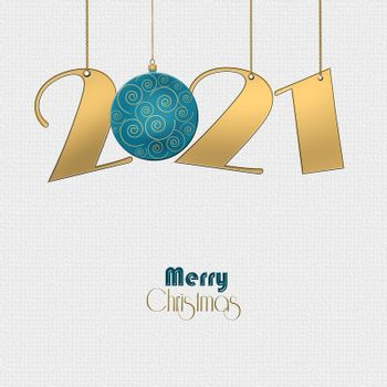 Minimalist Happy New 2021 Year design with hanging gold 2021 digit, turquoise blue ball with gold ornament on white background. Text Merry Christmas. Copy space, 3D illustration