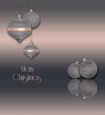 Christmas and New Year balls background. Hanging pastel grey pink decorative bauble with gold decor on metallic background. Text Merry Christmas. 3D illustration