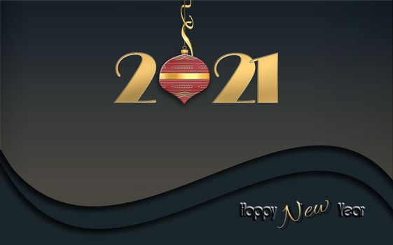 2021 New Year card with shining gold digit 2021, red ball and text Happy New Year on dark black dramatic background. 3D Illustration