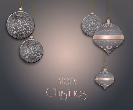 Elegant Christmas background with hanging brown balls with pink gold ornament on pastel brown background. Copy space. 3D illustration