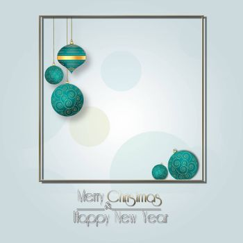 Elegant Christmas background with hanging turquoise blue balls with gold ornament on pastel green background with gold frame. Text Merry Christmas Happy New year. Copy space, mock up. 3D illustration
