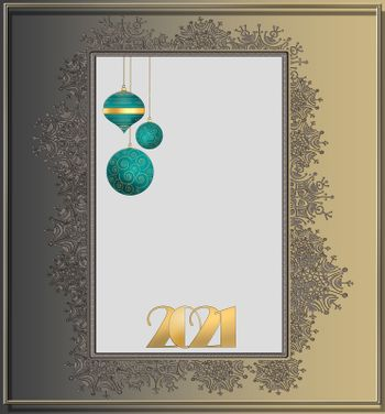 2021 Happy New Year background. Gold number 2021, hanging green balls on gold background with snowflakes border. Holiday flyer, greeting invitation card, banner. New Year selebration. 3D illustration.