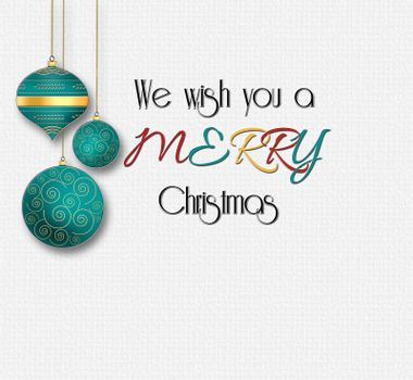 Minimalist Christmas wishes card with text We Wish You a Merry Christmas with hanging turquoise blue balls on white background and gold frames. 3D illustration