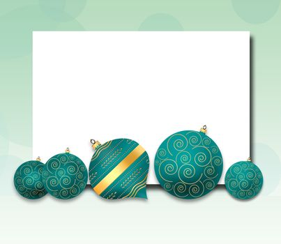 Elegant Christmas background with turquoise blue balls with gold ornament on pastel green background. Copy space, mock up, place for text. 3D illustration