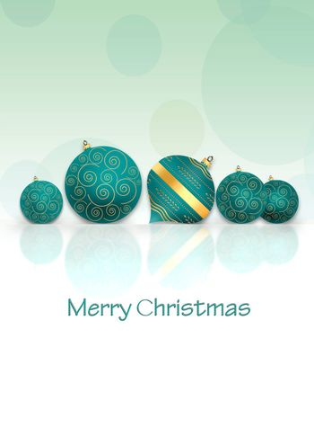 Christmas New Year background with turquoise blue balls with gold ornament on reflection on pastel green background. Text Merry Christmas. Copy space. 3D illustration