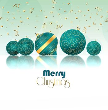 Christmas background with turquoise blue balls with gold ornament and confetti on reflection on pastel green background. Copy space, 3D illustration