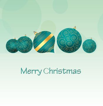 Christmas background with turquoise blue balls with gold ornament on pastel green background. Copy space, 3D illustration
