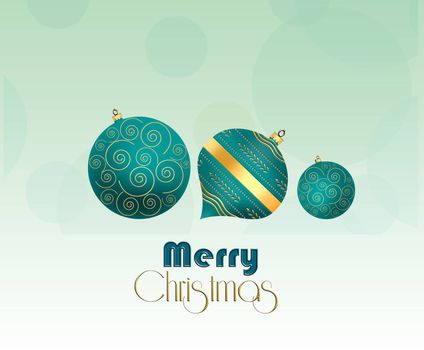 Christmas background with hanging turquoies blue balls with gold ornament and text Merry Christmas. Copy space. 3D illustration