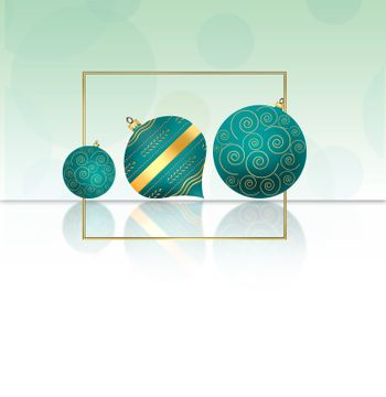 Christmas New Year background with turquoise blue balls with gold ornament and gold frame on pastel green background. Copy space, mock up. 3D illustration